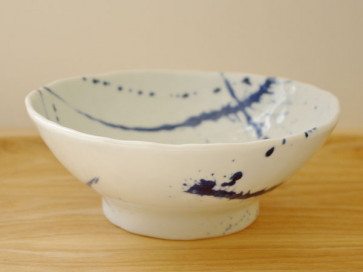 Hand-formed ramen bowls, indigo calligraphy, 3 piece set