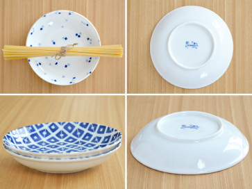 Indigo patterned 16.5cm plates, 4 piece set, sushi