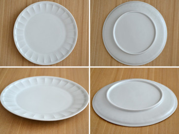 Flower 23cm rim plates, white, 4 piece set, sushi