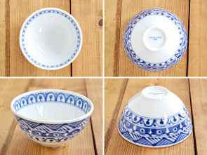 Majolica rice bowls, 4 piece set, lightweight dishes