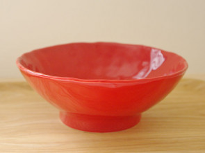 Hand-formed ramen bowls, red, 3 piece set