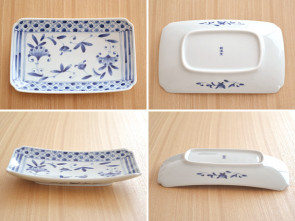Made in Japan, Japanese dishes, Mino ware, AIRINDO broiled fish dishes, 4 piece set, sushi