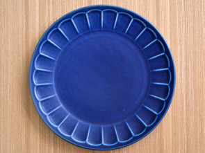 Flower 23cm rim plates, navy, 4 piece set, sushi